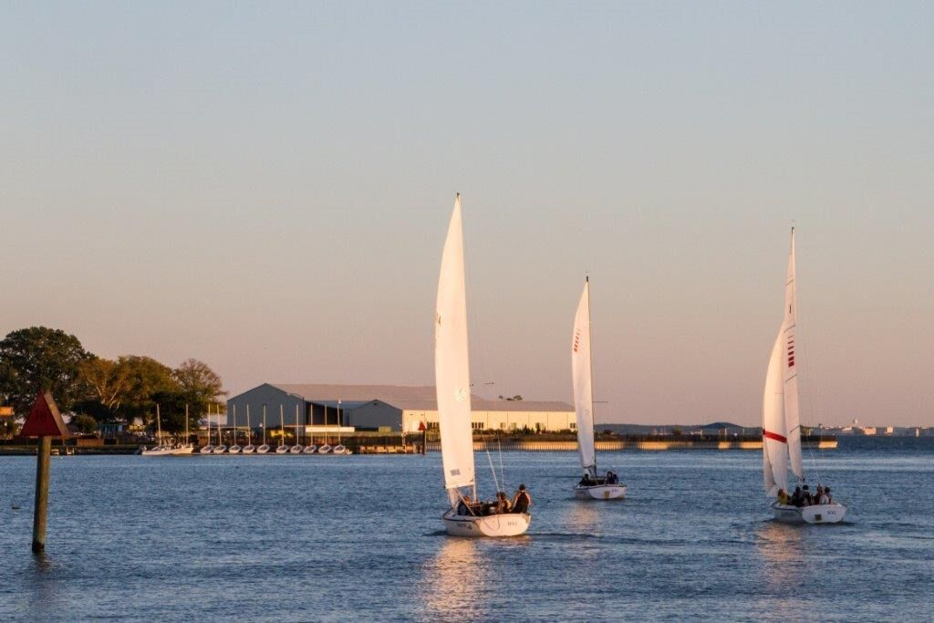 Sonars racing out of harbor in Hampton, VA