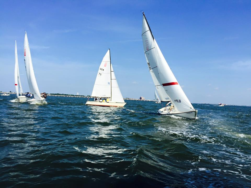 Sonars sailing to the finish during spring team race out of HYC